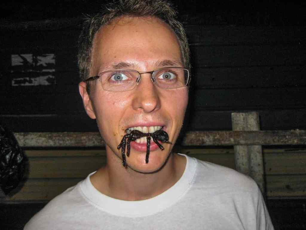 Greasy as heck from the humidity, eating fried tarantula in Cambodia.