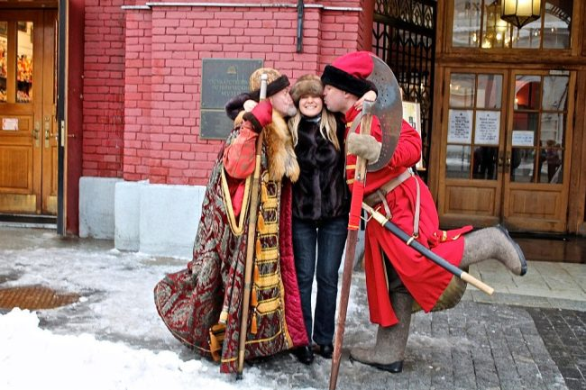 Anya Andreeva with Ivan the Terrible on the Red Square, Moscow, Russia