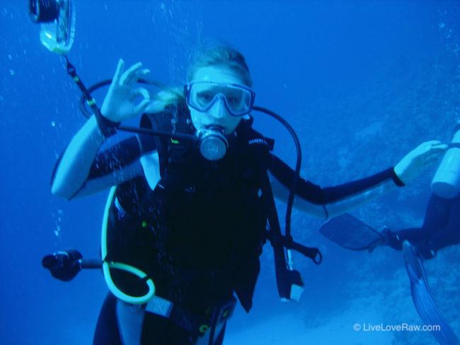 Anya Andreeva scuba diving at Ras Bob in Egypt