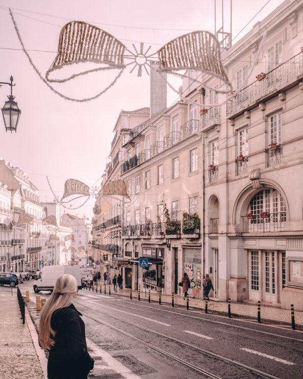 Lisbon's Bairro Alto district at Christmas. Find the best places in Lisbon for Instagrammable photos and when to go to get them to yourself!