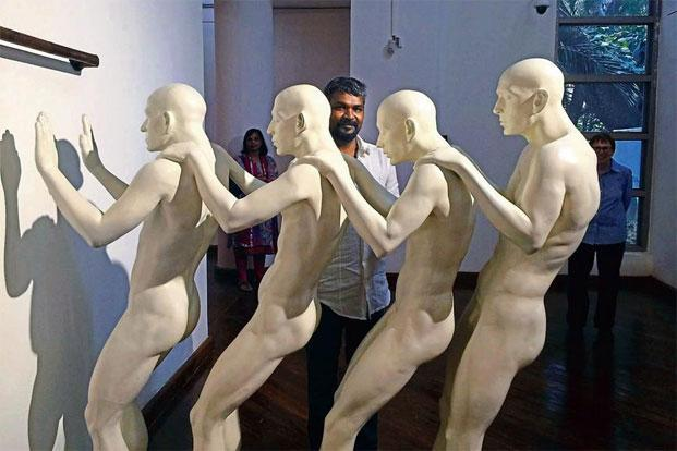G.R. Iranna with his sculptures at the NGMA, Bengaluru. Photo: Shoba Narayan