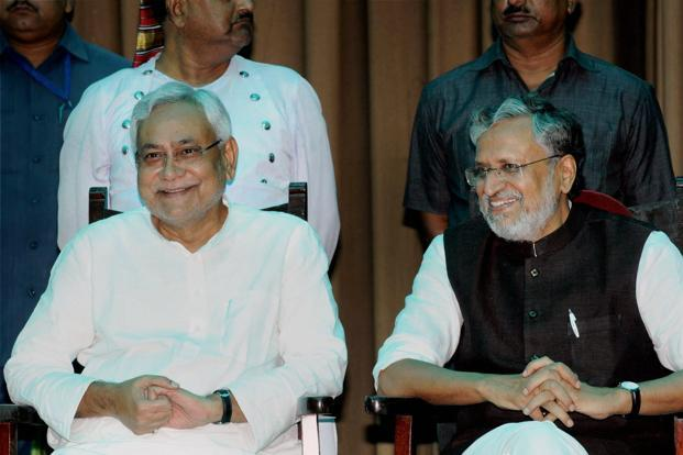 Bihar Chief Minister Nitish Ar With Deputy Cm Sushil Modi At Their Oath Taking Ceremony