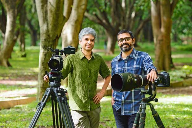 Shekar Dattatri (left), an award-winning filmmaker, and Ramki Sreenivasan, an entrepreneur and wildlife photographer. Photo: Hemant Mishra/Mint