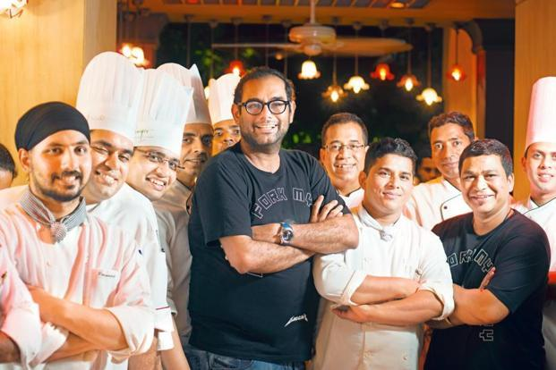 Gaggan Anand with the team of chefs at Masala Klub at The Taj West End in Bengaluru. Photo: Hemant Mishra/Mint
