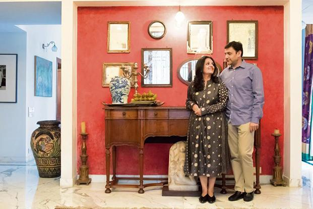 Radhika and Abhishek Poddar at their Bengaluru home. Photo: Abhishek BA/Mint