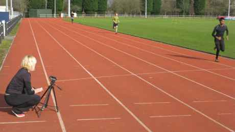 Terri filming existing running form from the side