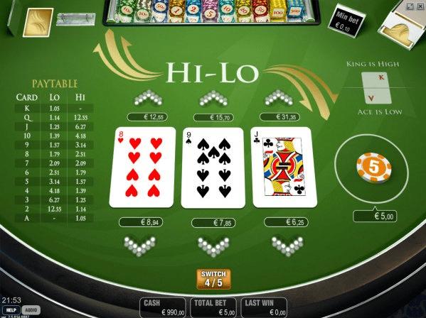 Hi Lo 3 card game