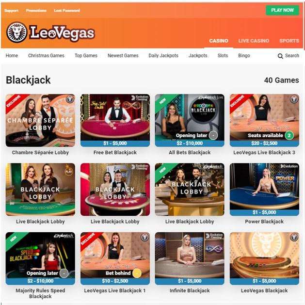 Leo Vegas Live Blackjack games