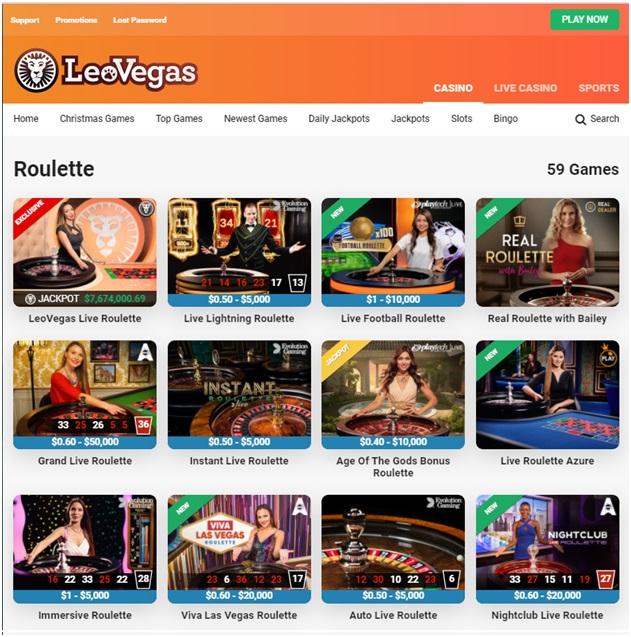 Leo Vegas Live Roulette games