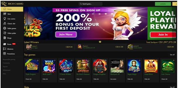 Rich Casino CAD Live Casino