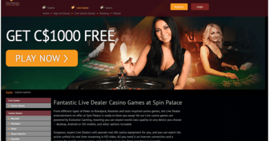 Spin Palace Casino- Live Dealer Games in CAD