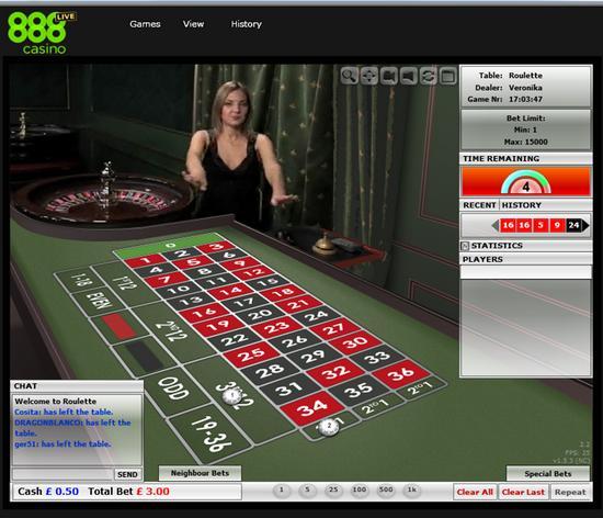 Live Dealer Roulette at 888 Live