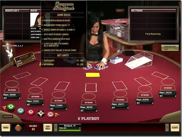 Playboy Live Dealer European Blackjack Royal Vegas