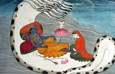 Vishnu and Mahalakshmi in Ocean