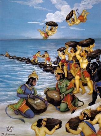 Hanuman Ji writes the name of Lord Rama on Stones to cross the Ocean