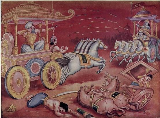 Lord Krishna and Arjuna Fight in Mahabharat