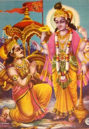 Lord Krishna and Arjuna discussing Bhagwad Geeta