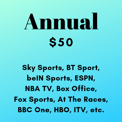 Annual Subscription of Live Premium TV HD Channels 24/7 (Sports and Other Channels) (No Ads) (Desktop / Mobile)