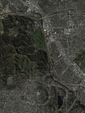 satellite map of the eastern side of Griffith Park in Los Angeles