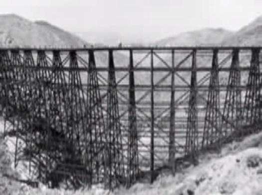 train bridge in a desert in California