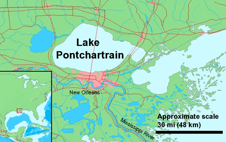map with Lake Pontchartrain