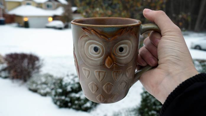 Enjoying coffee in the snow - Snow in Anacortes - liverecklessly.com