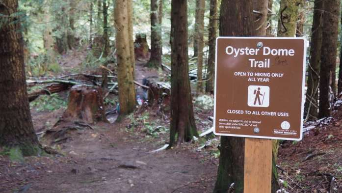 Oyster Dome trail sign - Save Blanchard Mountain Washington - Live Recklessly