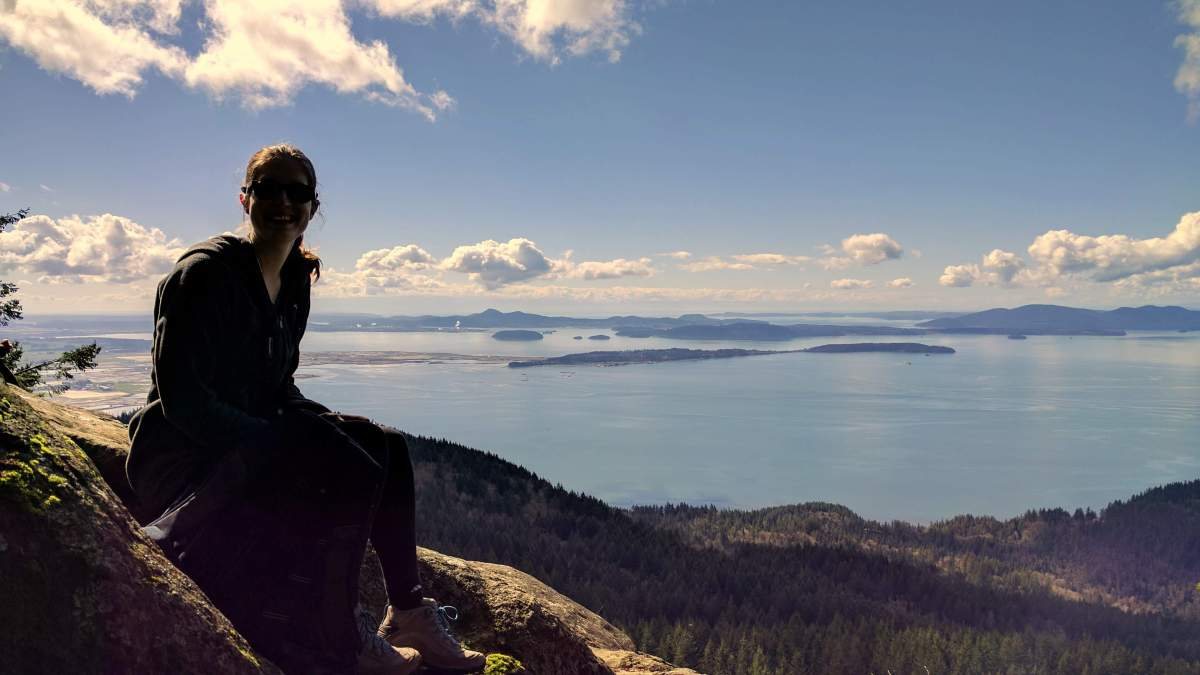 Dani at Oyster Dome summit - Save Blanchard Mountain Washington - Live Recklessly