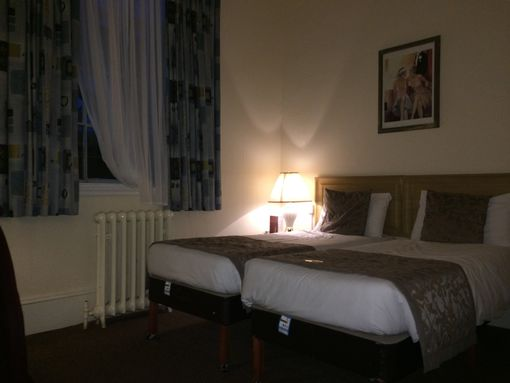 A twin bedroom at the Adelphi Hotel