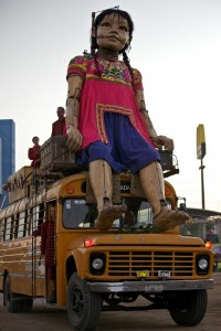 The Little Girl Giant has a rest on a bus in Mexico