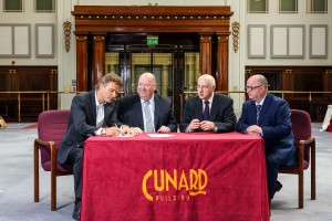 (L-R): Tim Bacon from Living Ventures, Mayor Joe Anderson, Lord Carlile and John Hyland from Astutus Strategy signing the restaurants deal