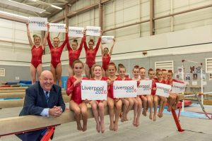 Mayor Joe Anderson with young gymnasts at Lifestyles Park Road