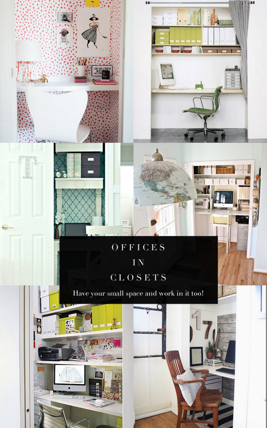 These closet offices are so inspiring! Seriously considering converting one now...
