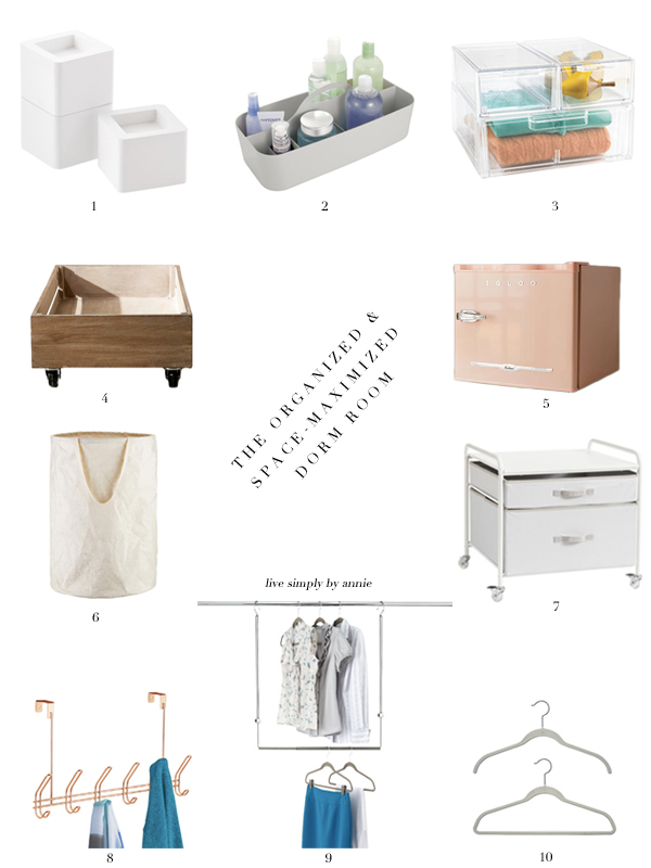 10 essentials for an organized, space-maximized dorm room.