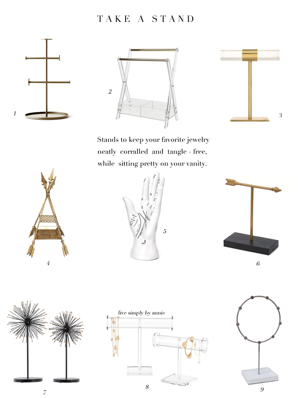 9 jewelry stands to