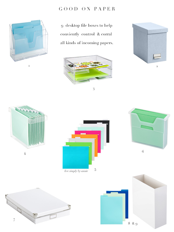 Operation organization: plan for incoming, school papers with these desktop file boxes.