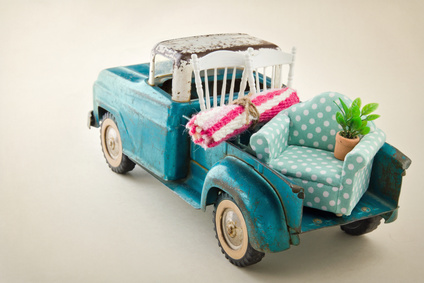 Toy truck packed with moving items