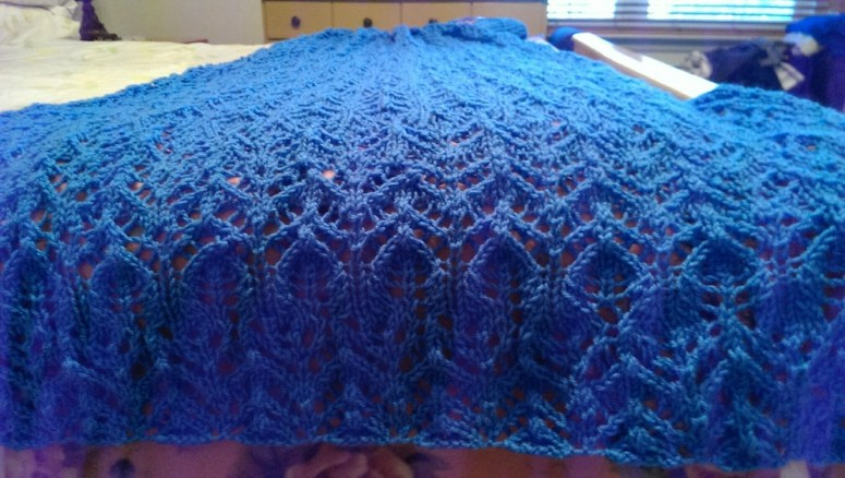 deep blue lace knit afghan