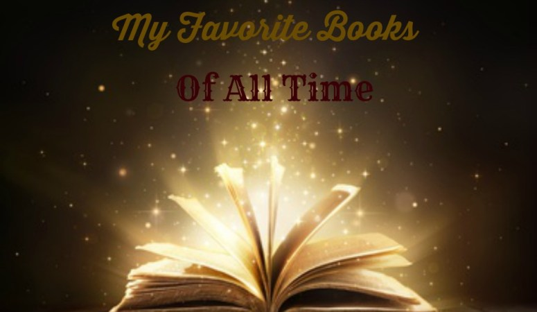 My favorite books of all time with an open book where words are floating out like stars.