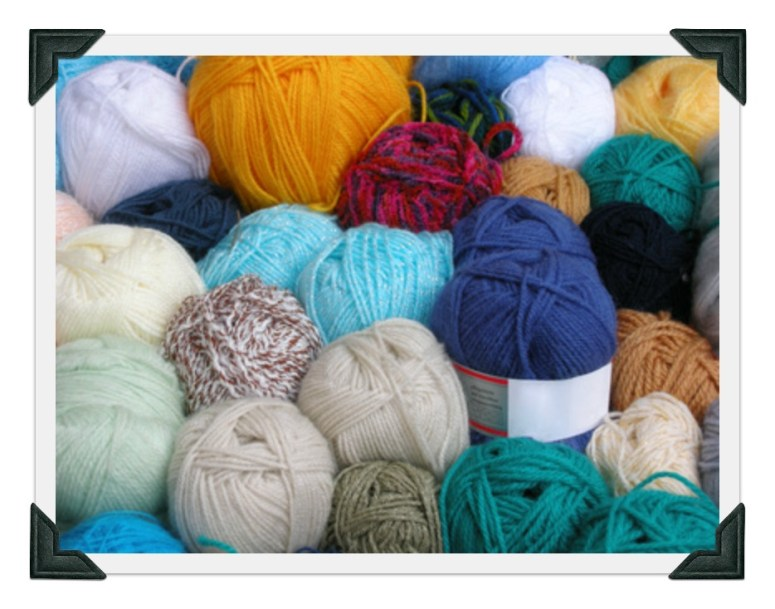 Skeins of yarn in different colors and textures