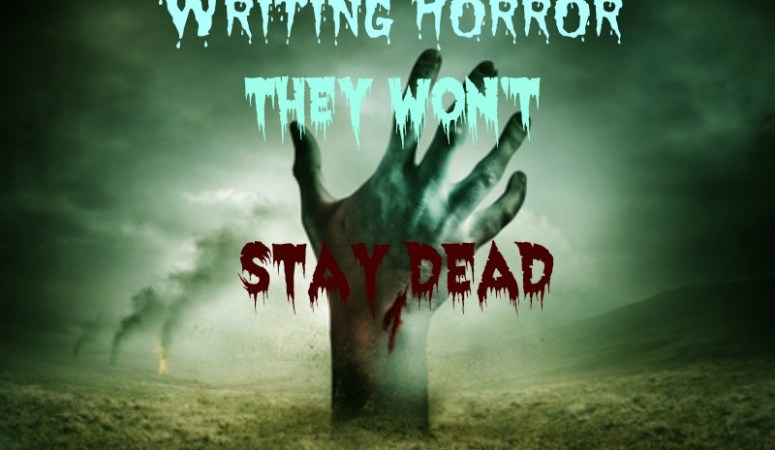 Writing Horror with a zombie hand rising out of the foggy ground.
