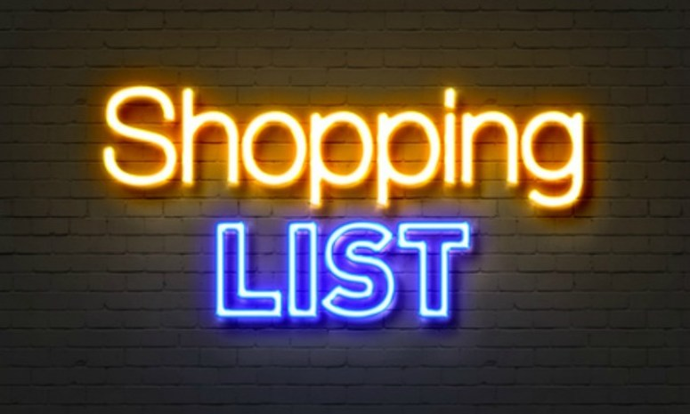 Neon shopping list lit up