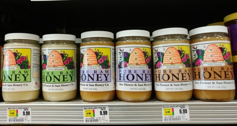 Jars of raw honey in the supermarket
