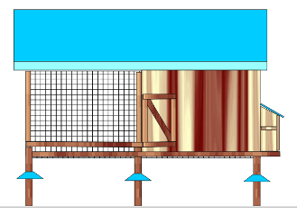 Slatted floor house for 50 layers