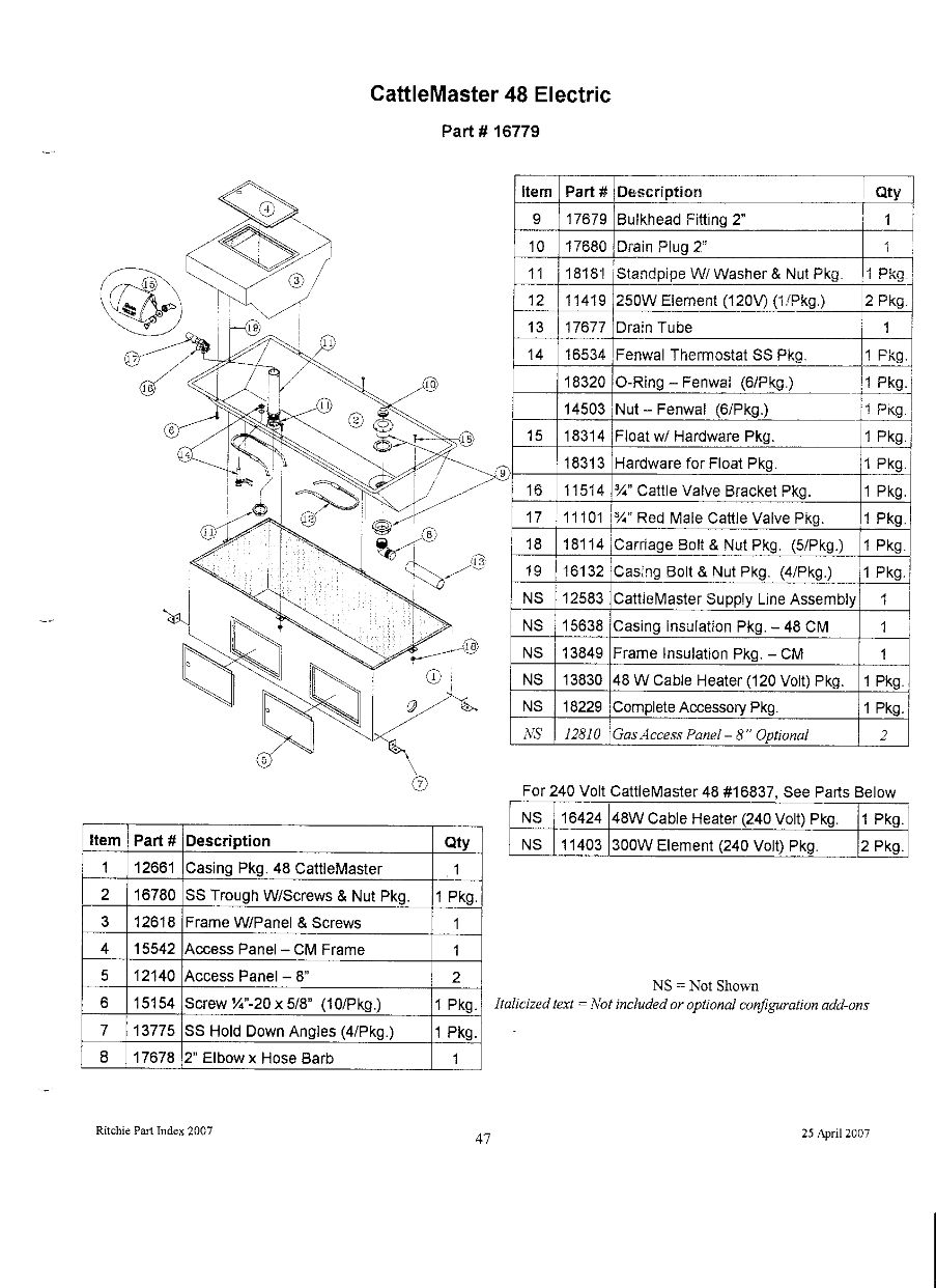 CattleMaster 48 Electric Parts