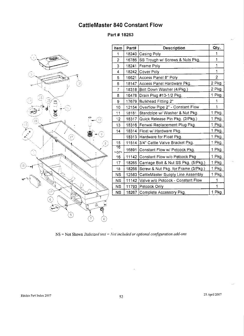 Cattlemaster 840 Constant Flow Parts