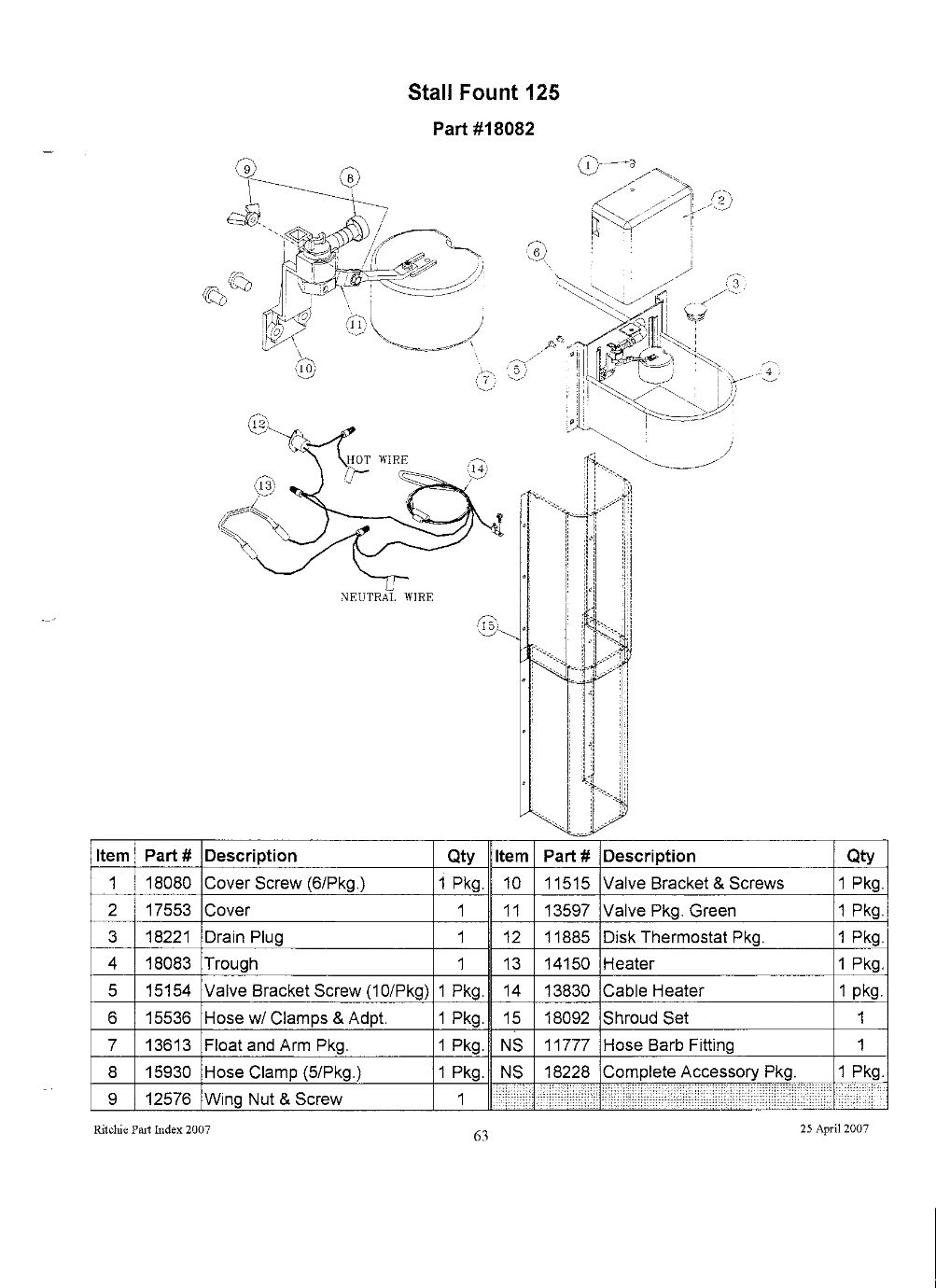 stall fount 125 parts
