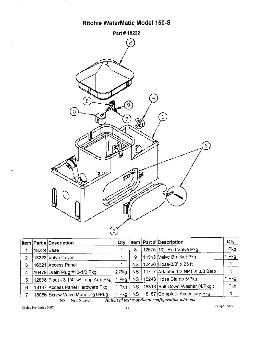 watermatic 150s parts