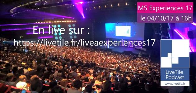 Bannière pour le live à Experiences 2017