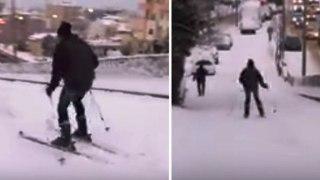 Θεσσαλονικείς κάνουν σκι στο κέντρο της Θεσσαλονίκης